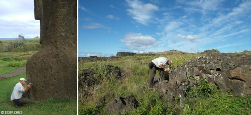 Figure 5: Analysis of basalt fragments embedded in the volcanic tuff and basalt outcrops with the portable XRF (photographs by CAP).