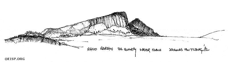 Rano Raraku Exterior Quarry by Johannes Van Tilburg. ©1982 EISP/JVT