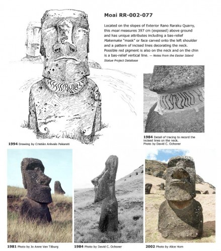 Moai RR-002-077 Located on the slopes of Exterior Rano Raraku Quarry, this moai measures 397 cm (exposed) above ground and has unique attributes including a bas-relief makemake 'mask' or face carved onto the left shoulder and a pattern of incised lines decorating the neck. Possible red pigment is also on the neck and on the chin is a bas-relief vertical line. — Notes from the Easter Island Statue Project Database