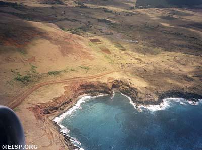 Aerial view of Rapa Nui. ©1983 EISP/JVT/ Photo: D. C. Ochsner.