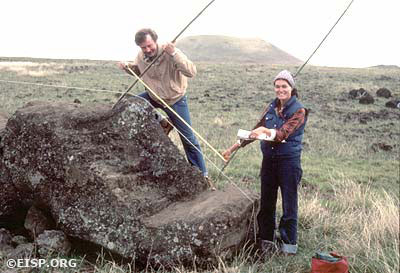 Andy Anderson and Jo Anne Van Tilburg improvising with bamboo poles as measuring devices, Easter Island (Rapa Nui). DCO/JVT.