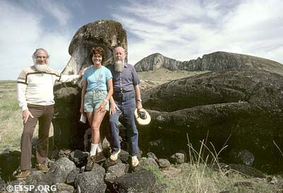 Dr. Roger Green, Jo Anne Van Tilburg and Bengt Danielsson, at Tongariki prior to restoration, 1984. ©1984 EISP/JVT/ Photo: D. C. Ochsner.