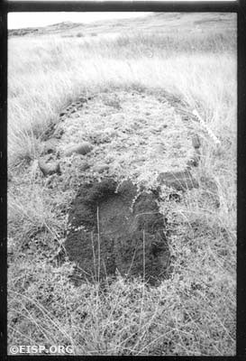 Our field crew found a very unusual oval, paved feature 32-023-004 with a partially buried oval red scoria basin incorporated. Subsequent excavation by the University of Chile revealed an extended burial dated to the 1600s. Rapa Nui (Easter Island) Photo taken in 1984 by David C. Ochsner, © EISP/JVT.