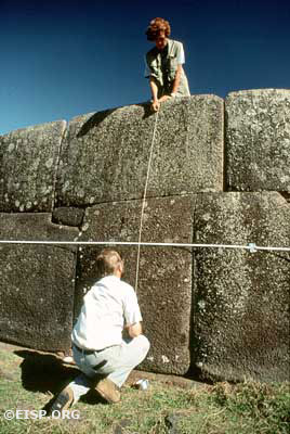 Jo Anne Van Tilburg and Curtiss H. Johnson preparing the seaward wall at Vinapu for elevation and plan drawings, Rapa Nui (Easter Island). Photo by David C. Ochsner, © JVT/EISP.