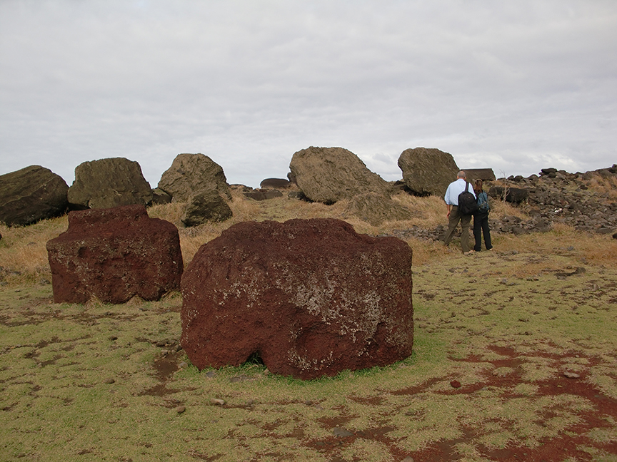 Christian Fischer and Susana Nahoe at Ahu Vaihu, with taheta in the foreground
