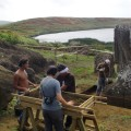 Site overview showing Rano Raraku lake from the project site in a quarry named Papa Haa Pure. Screening team working on deposits removed from Moai 157.