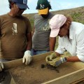 Cristián Arévalo Pakarati, Jo Anne Van Tilburg, and Benjamin Mihaore Pakarati González  screening removed deposits.