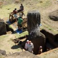 Overview of the excavation site in Rano Raraku interior.
