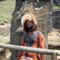 Benjamin Mihaore Pakarati Gonzalez in body paint at excavation site. © Easter Island Statue Project