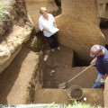 Jo Anne Van Tilburg and  Cristián Arévalo Pakarati excavating Unit 156.