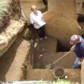 Jo Anne Van Tilburg and  Cristián Arévalo Pakarati excavating Unit 156.