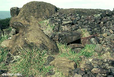 "Moai 02-210-004 was first noted, in its current position, by Surgeon J. Linton Palmer of HMS Topaze. At that time, he sketched the incised ""tattoo"" lines on the neck and paintings on the torso (one was a crescent in red and white and the other a small anthropomorph in white). The combined elements evoked a person on a canoe or ship. The incised lines are similar to others found at Ahu Tongariki and Rano Raraku."