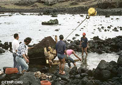 Rapa Nui crew, directed by Juan Haoa, removing pukao fragment from the bay near Ahu Vaihu (06-255). ©1986 EISP/JVT/ Photo:J. Van Tilburg.
