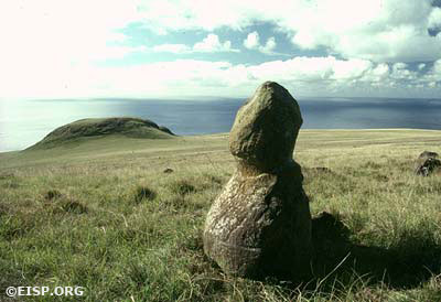 EISP archive photos of trachite statue, Poike, Rapa Nui (Easter Island), 1989. Photos by David C. Ochsner, © JVT/EISP.