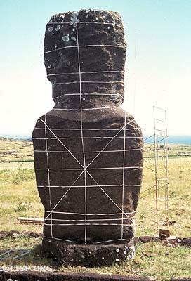 Ahu Akivi Moai 1, back view. ©1991 EISP/Photo: J. Van Tilburg.