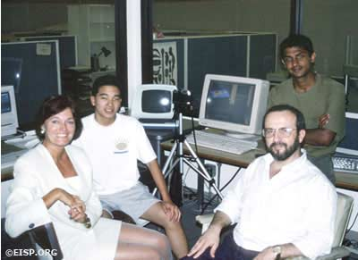 Jo Anne Van Tilburg, Zvi Shiller (left) and Satish Sundar (left, rear) at UCLA for computer modeling of the transport experiment. ©1993 EISP/JVT.