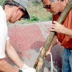 Ted Ralston and Johannes Van Tilburg learning to use the traditional ke'ke, a Y-shaped tool used for tightening canoe and house lashings. ©1998 EISP/JVT/Photo: J. Van Tilburg.