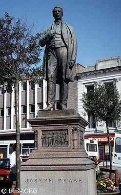 "Statue of Joseph Pease, Katherine Routledge's paternal grandfather and Quaker ""father of English railways,"" Darlington, Northern England. (©1995 EISP/JVT/Photo: J. Van Tilburg)"
