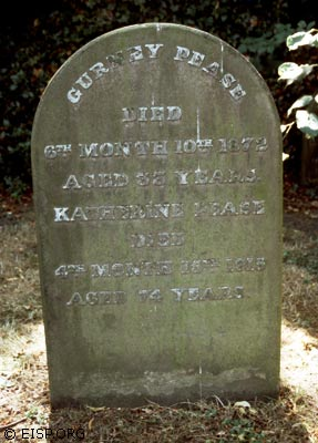 Marker on the grave of Gurney Pease, Katherine Routledge's father, Quaker Burial Ground, Darlington. (©1995 EISP/JVT/Photo: J. Van Tilburg)