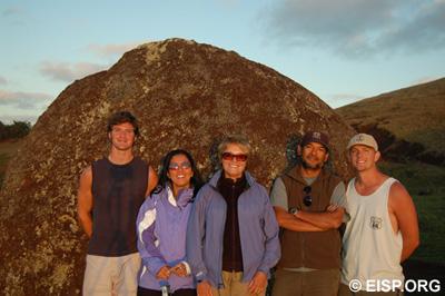 EISP field crew, 2006: Henry Debey, Alice Hom, Jo Anne Van Tilburg, Cristián Arévalo Pakarati, Matthew Bates.