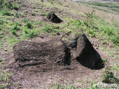 Moai RR-002-211 and 212 on outer slope of Rano Raraku quarry.