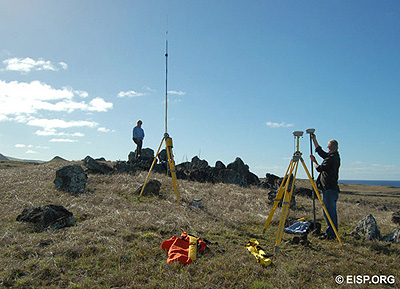 Jo Anne Van Tilburg and Matthew Bates set up to survey the statue transport road. Photo: H. Debey © JVT.