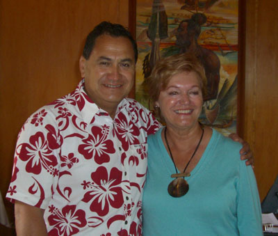 Mayor Petero Edmunds and Jo Anne Van Tilburg announcing the site preservation grant from the Archaeological Institute of America, Hanga Roa, Rapa Nui, 2009.
