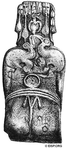 Dorsal view drawing of Hoa Hakananai'a by C. Arévalo Pakarati.