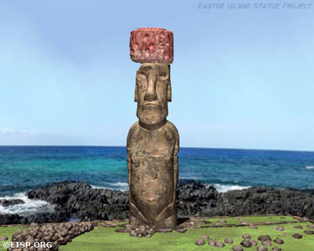 Film stills captured from a computer animation showing the 360° view of Moai Paro being re-erected onto its ahu. ©2002 EISP/JVT/Animation: Arnold Animations.
