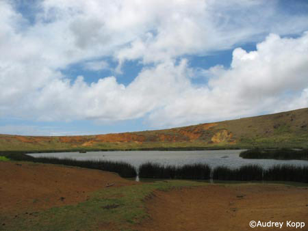 Interior of Rano Raraku, with a magnificent lake edged by reeds. Photo by Audrey Kopp.