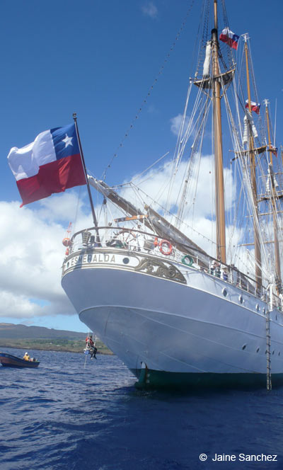 Chilean training ship <em>Esmeralda.<em/> Photo by Jaine Sanchez.