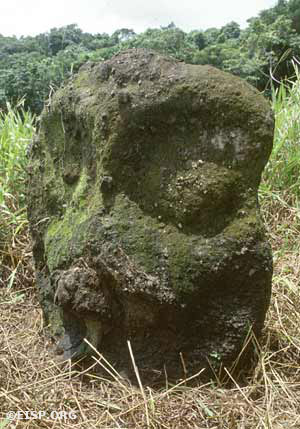 "Monolith number 28 at Ngereklngong (total height 1.03 m) is an example of type variety A1 (called Chesuch or ""owl""). Photo by David C. Ochsner, ©1987 Jo Anne Van Tilburg."