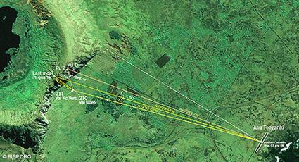 Diagram of line of sightlines between <em>pu</em>, two <em>moai</em> on the slope, and Tongariki. Credit: EISP