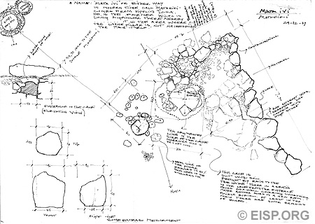 Plan of Ahu Akahanga (7-584), surveyed by EISP in 1983 and drawn by Johannes Van Tilburg, with conjectural reconstruction of three statues (drawn by Cristián Arévalo Pakarati) and associated with platforms 1, 3, and 4.
