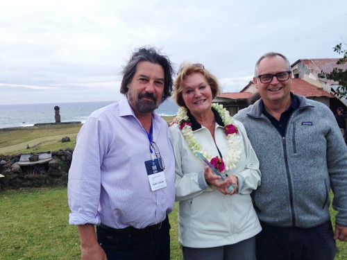 Charles Stanish, Jo Anne Van Tilburg, and Charlie Steinmetz at the opening reception for the Early Pacific Migration and Navigation Conference, Rapa Nui, November 2018.