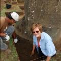 Jo Anne Van Tilburg (right) and Cristian Arevalo Pakarati, EISP co-directors, excavating Moai 157, Rano Raraku Quarry, 2010.