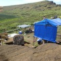 Overview of EISP excavation site, with scaffolding set up around Moai 157 in preparation for conservation studies.