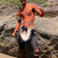Hotu Pakarati Icka in body paint at excavation site. © Easter Island Statue Project