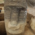 Statue RR-001-156 beginning to reveal neck and torso. © Easter Island Statue Project