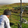 Tahira Edmunds downloading data from the environmental monitoring equipment on site.