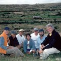 Moai transport crew at Rano Raraku. From left, Johannes Van Tilburg, Zvi Shiller, Ted Ralston, Margie Ralston, Niko Haoa, Jo Anne Van Tilburg. ©1998 EISP/JVT