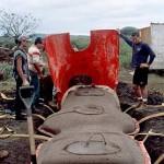 Darus Ane (right) removing the fiberglass mold from the back of the freshly cast moai replica. ©1998 EISP/JVT/Photo: J. Van Tilburg.