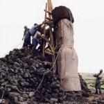 Rafael Rapu (right) supervising the raising of our replica statue on the ahu he built at Rano Raraku. ©1998 EISP/JVT/Photo: J. Van Tilburg.